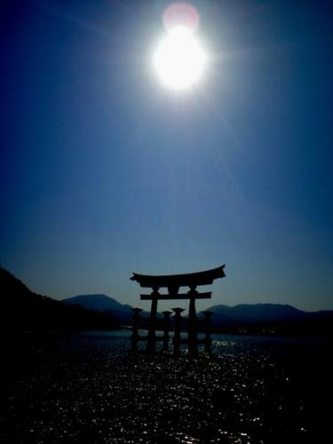 太陽と大鳥居.JPG